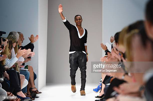 Fashion designer Olivier Rousteing acknowledges applause following the Balmain show as part of the Paris Fashion Week Womenswear Spring/Summer 2013...