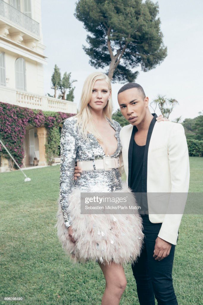Fashion designer Olivier Rousteing and fashion model Lara Stone are photographed for Paris Match whilst attending the Amfar Gala at the Eden Roc Hotel on May 25, 2017 in Antibes, France.