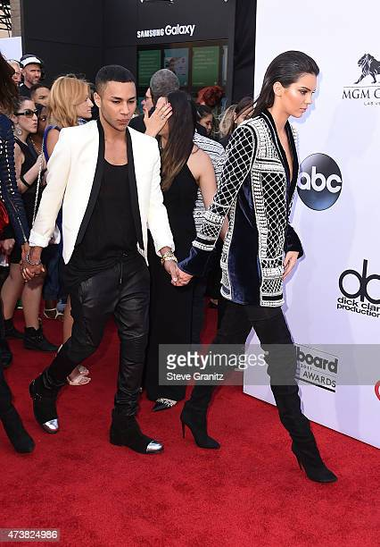 Fashion designer Olivier Rousteing and TV personality Kendall Jenner both wearing Balmain x HM attend the 2015 Billboard Music Awards at MGM Grand...