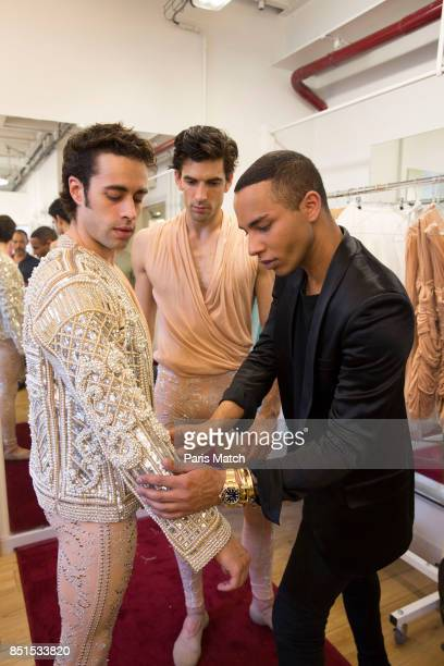Fashion designer Olivier Rousteing with ballet dancers Audric Bezard and Mathias Heynemann are photographed for Paris Match on May 29 2017 in Paris...