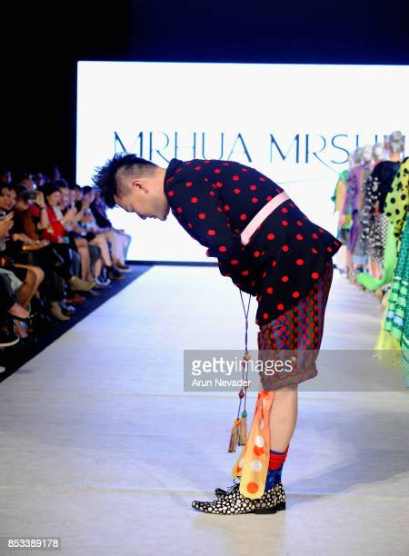 MRSHUA fashion designer on the runway at 2017 Vancouver Fashion Week Day 7 on September 24 2017 in Vancouver Canada