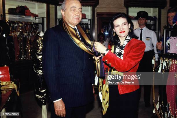 Fashion designer Paloma Picasso and Egyptian businessman Mohamed Al Fayed in 1989 ca in London England