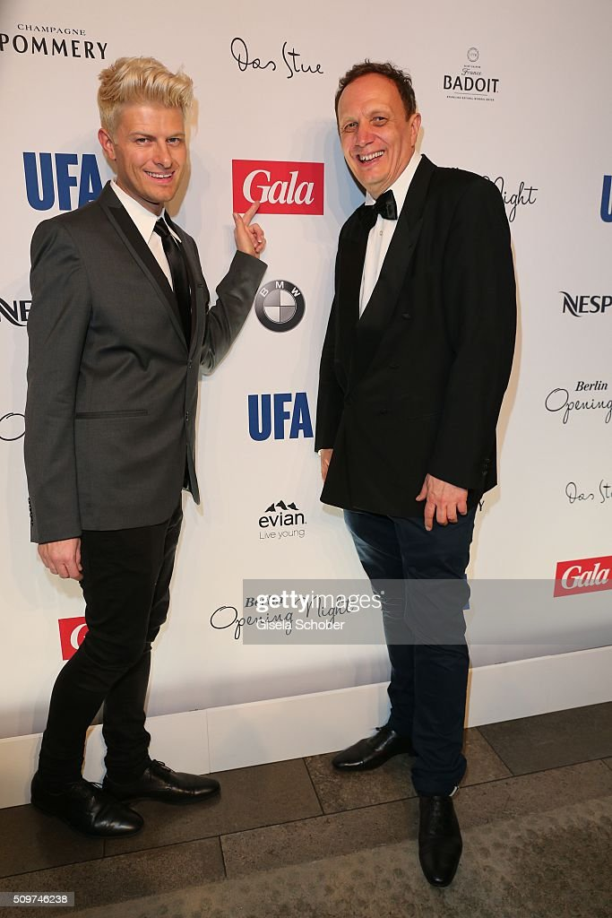 Fashion designer Patrick Ascher and Dr. Andreas Riedler during the 'Berlin Opening Night of GALA & UFA Fiction' at Das Stue Hotel on February 11, 2016 in Berlin, Germany.