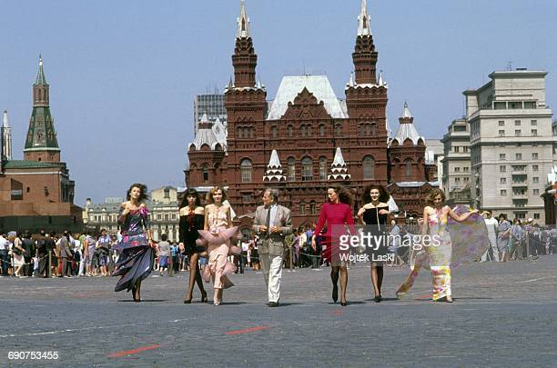 Fashion designer Pierre Cardin and his models at the Red Square in Moscow Russia in 1989