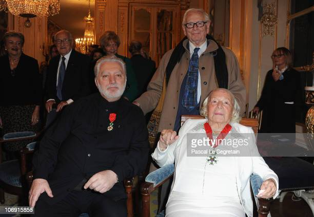 Fashion designer Pierre Cardin poses with Paco Rabanne and MarieLouse Carven Grog after they received the Legion of Honor at Ministere de la Culture...