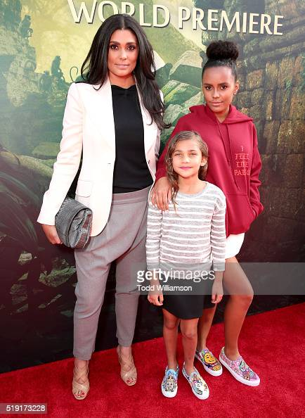 Fashion designer Rachel Roy and daughters Tallulah Ruth Dash and Ava Dash attend the premiere of Disney's 'The Jungle Book' at the El Capitan Theatre...