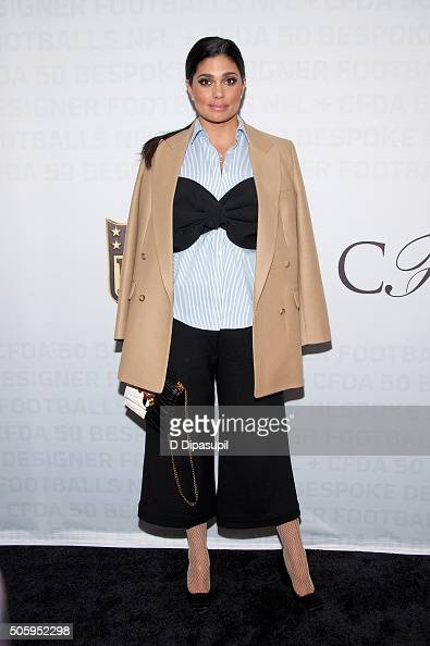Fashion designer Rachel Roy poses on the carpet as the NFL Unveils Super Bowl 50 Bespoke Designer Footballs in Collaboration with the CFDA at NFL...