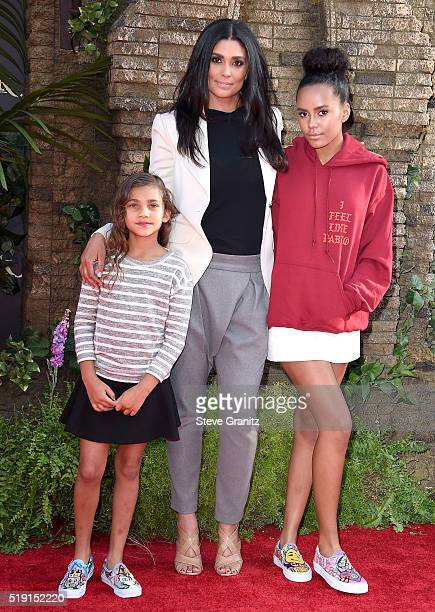 Fashion designer Rachel Roy with daughters Tallulah Ruth Dash and Ava Dash attend the premiere of Disney's 'The Jungle Book' at the El Capitan...