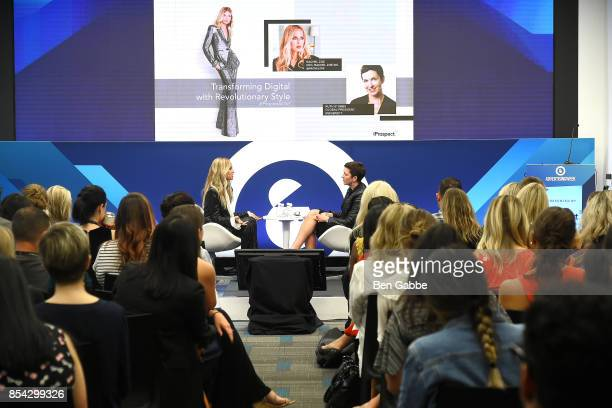 Fashion designer Rachel Zoe and Global President of iProspect Ruth Stubbs speak during the Advertising Week 2017 talk about Transforming Digital by...