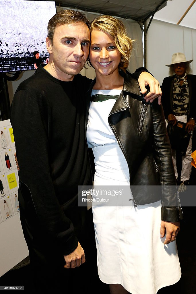 Fashion designer Raf Simons and actress Jennifer Lawrence pose backstage after the Christian Dior show as part of Paris Fashion Week - Haute Couture Fall/Winter 2014-2015. Held at Musee Rodin on July 7, 2014 in Paris, France.