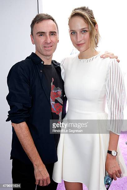Fashion Designer Raf Simons and actress Leelee Sobieski pose backstage after the Christian Dior show as part of Paris Fashion Week HauteCouture...