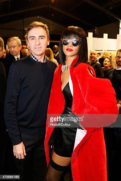 Fashion Designer Raf Simons and singer Rihanna pose backstage after the Christian Dior show as part of the Paris Fashion Week Womenswear Fall/Winter...