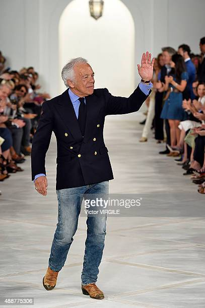 Fashion designer Ralph Lauren walks the runway at the Ralph Lauren Spring Summer 2016 fashion show during the New York Fashion Week on September 17...