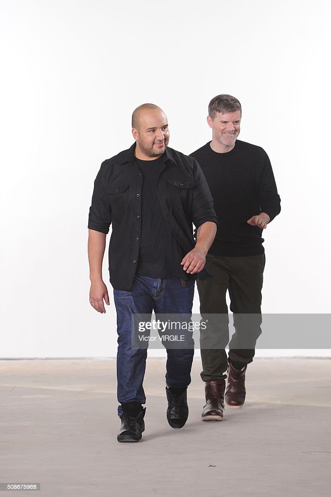 Fashion designer Raul Arevalo and Brad Schmidt walk the runway at the Cadet Fall/Winter 2016 Collection during NYFW Men's Fall/Winter 2016 on February 3, 2016 in New York City.