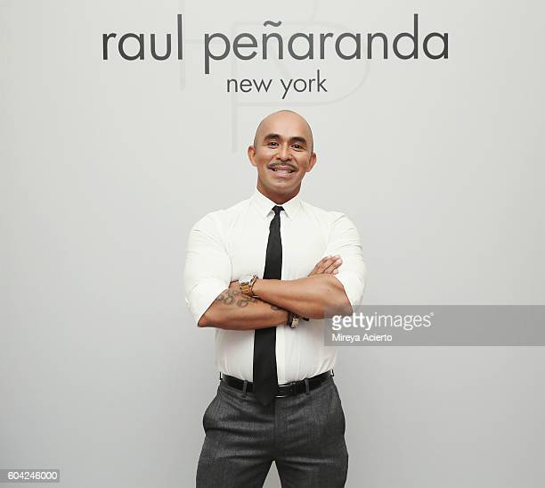 Fashion designer Raul Penaranda poses backstage with models before the Raul Panaranda show during Style360 NYFW September 2016 at Metropolitan West...