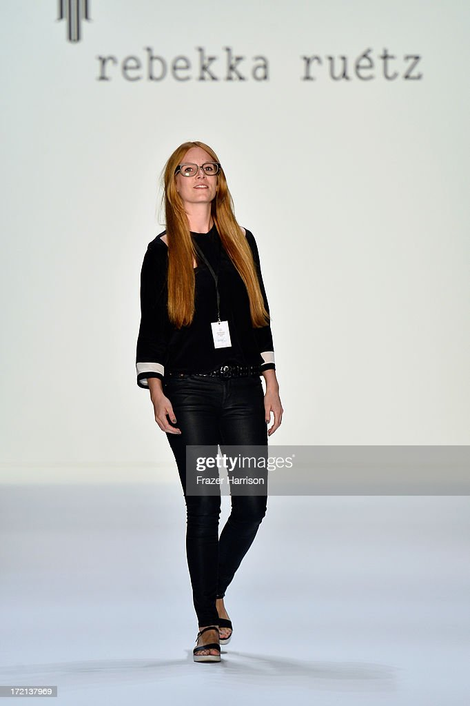 Fashion designer Rebekka Ruetz on the runway after her show during Mercedes-Benz Fashion Week Spring/Summer 2014 at Brandenburg Gate on July 2, 2013 in Berlin, Germany.