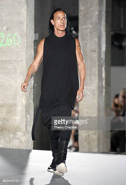 US fashion designer Rick Owens acknowledges the audience at the end of the Rick Owens Menswear Spring/Summer 2017 show as part of Paris Fashion Week...
