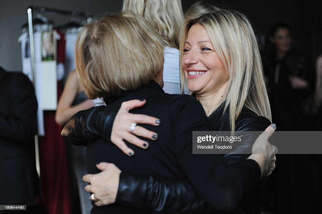 Fashion Designer Rita Vinieris backstage before the Rita Vinieris Debut Eveningwear Collection presentation during Fall 2013 Mercedes-Benz Fashion Week at the Baryshnikov Arts Center on February 6, 2013 in New York City.