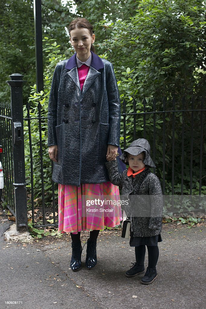 Fashion Designer Roksanda Illincic and her daughter Mia illincic on day 5 of London Fashion Week Spring/Summer 2013, at Somerset House on September 17, 2013 in London, England.