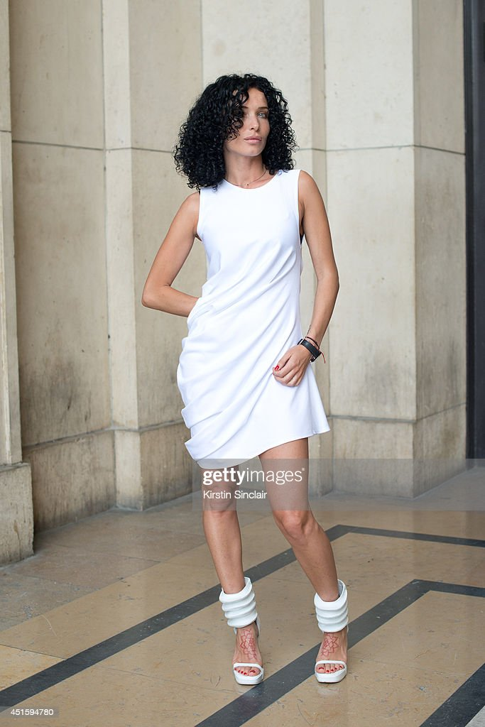 Fashion designer Sasha Burzumb wearing a Whatever dress with Rick Owens shoes on day 2 of Paris Collections: Men on June 26, 2014 in Paris, France.
