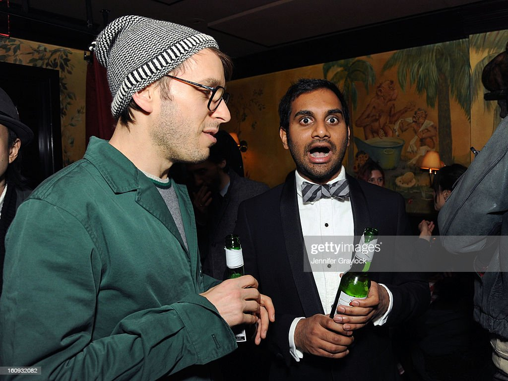 Fashion designer Scott Sternberg and <a gi-track='captionPersonalityLinkClicked' href=/galleries/search?phrase=Aziz+Ansari&family=editorial&specificpeople=4266146 ng-click='$event.stopPropagation()'>Aziz Ansari</a> attend the Band Of Outsiders Fashion Week Mens Collection After Party held at the Monkey Bar on February 7, 2013 in New York City.