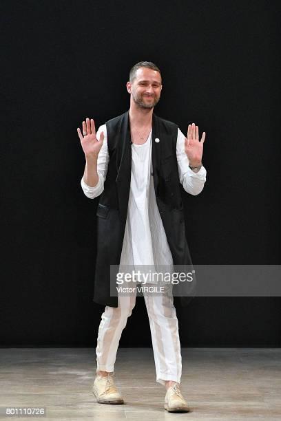 Fashion designer Sebastien Meunier walks the runway during the Ann Demeulemeester Menswear Spring/Summer 2018 show as part of Paris Fashion Week on...