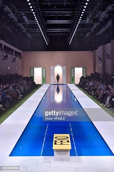 Fashion designer Silvia Venturini Fendi walks the runway at the Fendi show during Milan Men's Fashion Week Spring/Summer 2017 on June 20 2016 in...