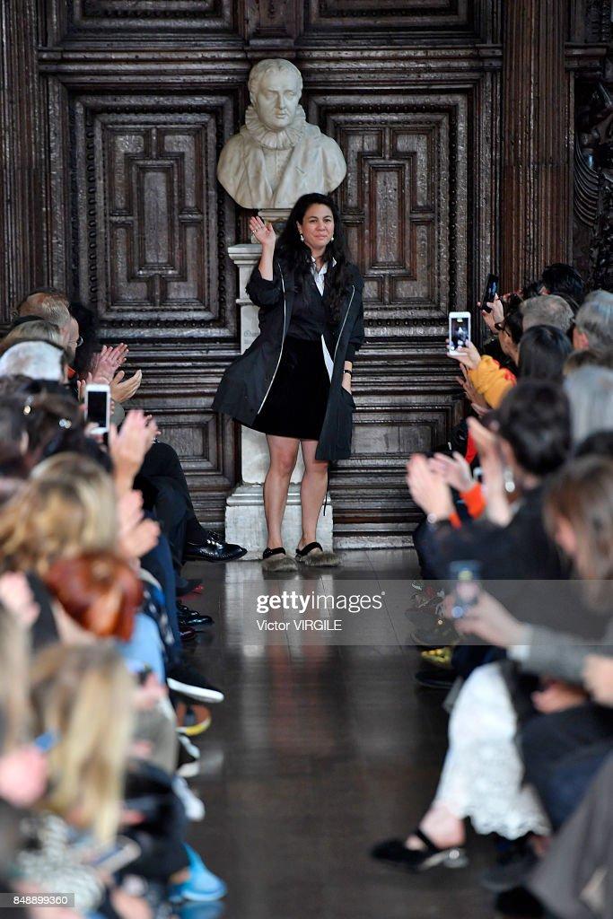 Fashion designer Simone Rocha walks the runway at the Simone Rocha Ready to Wear Spring/Summer 2018 fashion show during London Fashion Week September 2017 on September 16, 2017 in London, England.