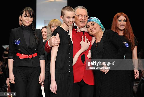 Fashion designer Slavia Zaitsev on the catwalk with designers from the Laboratoriya 13 show on Day 3 of the MercedesBenz Fashion Week Russia...