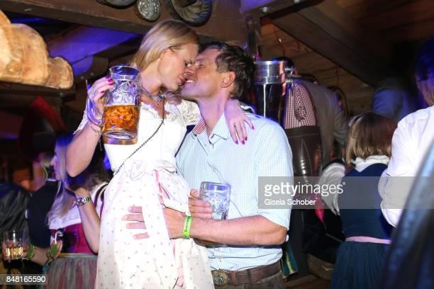 Fashion designer Sonja Kiefer and her boyfriend Cedric Schwarz during the opening of the Oktoberfest 2017 at Kaeferschaenke at Theresienwiese on...