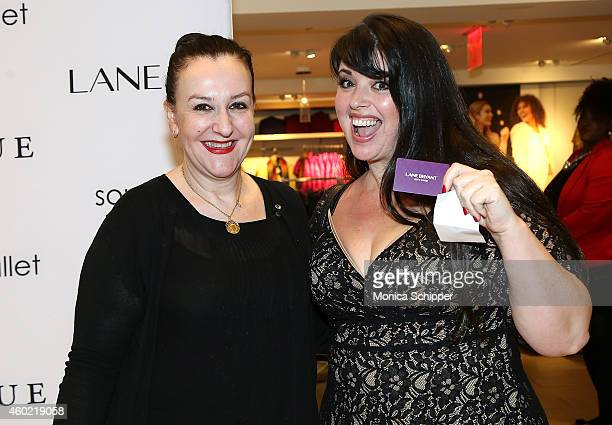 Fashion designer Sophie Theallet and model and raffle winner Jamie Litt pose for a photo at the Sophie Theallet Personal Appearance At Lane Bryant on...