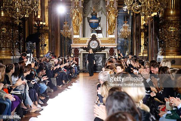 Fashion Designer Stella McCartney acknowledges the applause of the audience at the end of the Stella McCartney show as part of the Paris Fashion Week...