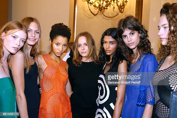 Fashion Designer Stella McCartney and her Models pose Backstage after the Stella McCartney show as part of the Paris Fashion Week Womenswear...