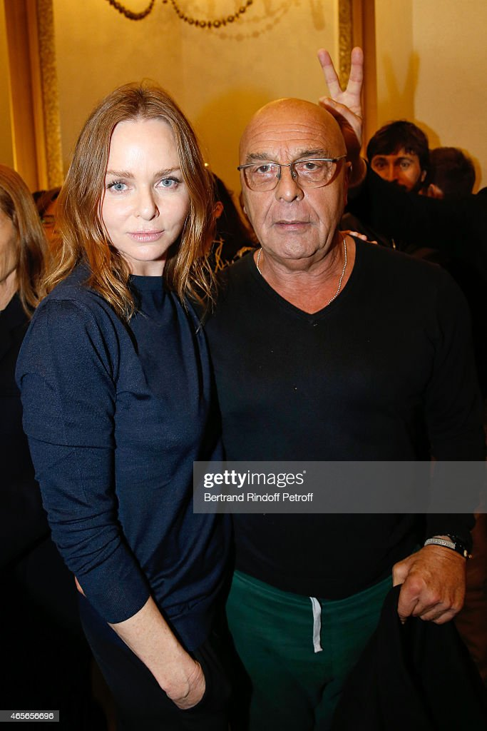 Fashion Designer Stella McCartney and <a gi-track='captionPersonalityLinkClicked' href=/galleries/search?phrase=Jean-Baptiste+Mondino&family=editorial&specificpeople=3943416 ng-click='$event.stopPropagation()'>Jean-Baptiste Mondino</a> pose Backstage after the Stella McCartney show as part of the Paris Fashion Week Womenswear Fall/Winter 2015/2016 on March 9, 2015 in Paris, France.