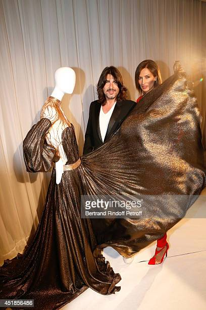 Fashion designer Stephane Rolland and model Nieves Alvarez attend the Stephane Rolland show as part of Paris Fashion Week Haute Couture Fall/Winter...