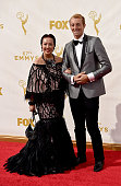 Fashion designer Sue Wong and TV presenter Prince MarioMax SchaumburgLippe attend the 67th Annual Primetime Emmy Awards at Microsoft Theater on...