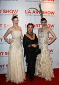 Fashion Designer Sue Wong attends the 2014 LA Art Show opening night premiere party at the Los Angeles Convention Center on January 15 2014 in Los...