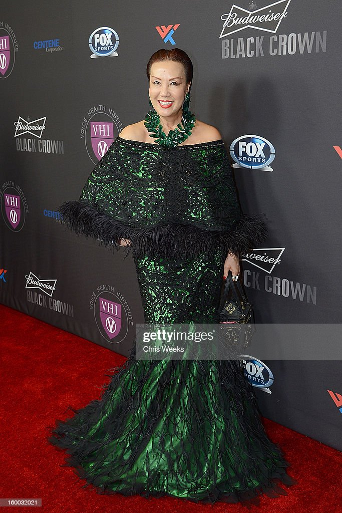 Fashion designer Sue Wong attends the Voice Health Institute's 'Raise Your Voice' benefit at Beverly Hills Hotel on January 24 2013 in Beverly Hills...