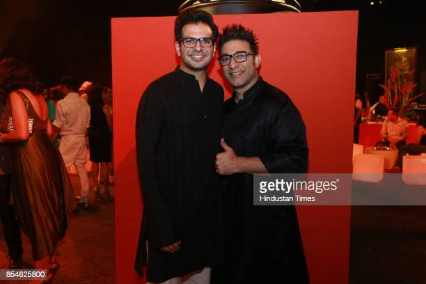 Fashion designer Suneet Verma during an art exhibition organised by veteran artist Satish Gujral on September 22 2017 in New Delhi India At the event...