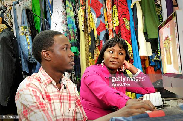 Fashion designer Sylvia Owori working on a new collection