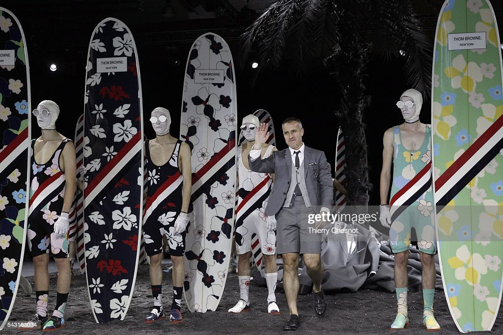 US Fashion designer Thom Browne acknowledges the applause of the public after the Thom Browne Menswear Spring/Summer 2017 show as part of Paris Fashion Week on June 26, 2016 in Paris, France.