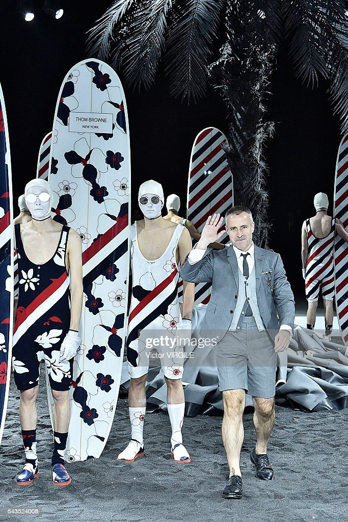 Fashion designer Thom Browne walks the runway during the Thom Browne Menswear Spring/Summer 2017 show as part of Paris Fashion Week on June 26 2016...