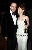Fashion designer Tom Ford and actress Julianne Moore attend the 2015 Vanity Fair Oscar Party hosted by Graydon Carter at the Wallis Annenberg Center...