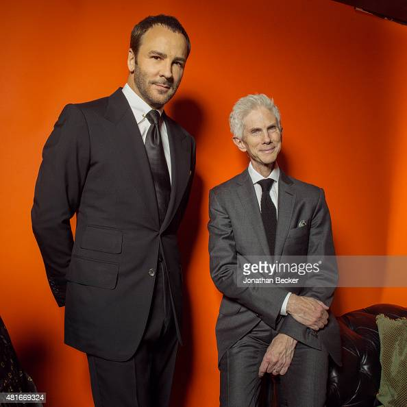 Fashion designer Tom Ford and journalist Richard Buckley are photographed at the Charles Finch and Chanel's PreBAFTA on February 7 2015 in London...