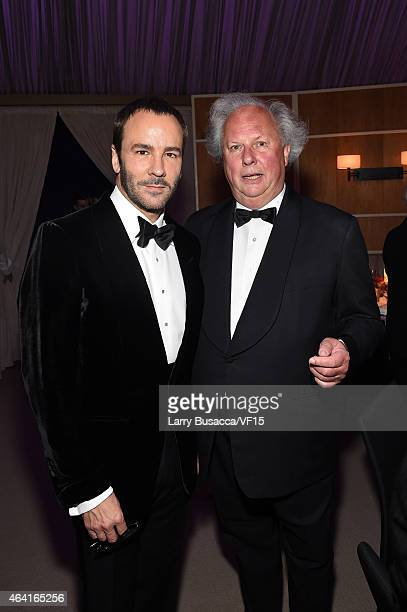 Fashion designer Tom Ford and Vanity Fair EditorinChief Graydon Carter attend the 2015 Vanity Fair Oscar Party Viewing Dinner hosted by Graydon...
