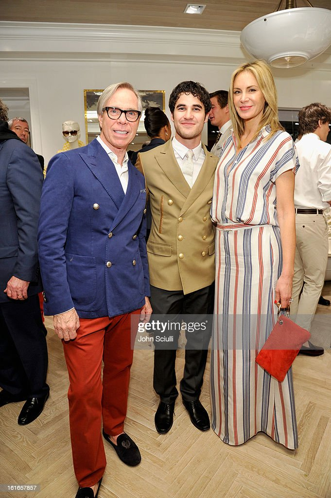 Fashion designer Tommy Hilfiger, actor Darren Criss and Dee Hilfiger attend Tommy Hilfiger New West Coast Flagship Opening on Robertson Boulevard on February 13, 2013 in West Hollywood, California.