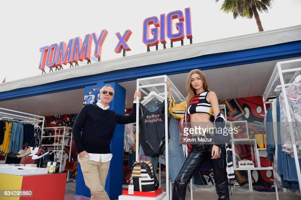 Fashion designer Tommy Hilfiger and model Gigi Hadid pose at the TommyLand Tommy Hilfiger Spring 2017 Fashion Show on February 8 2017 in Venice...