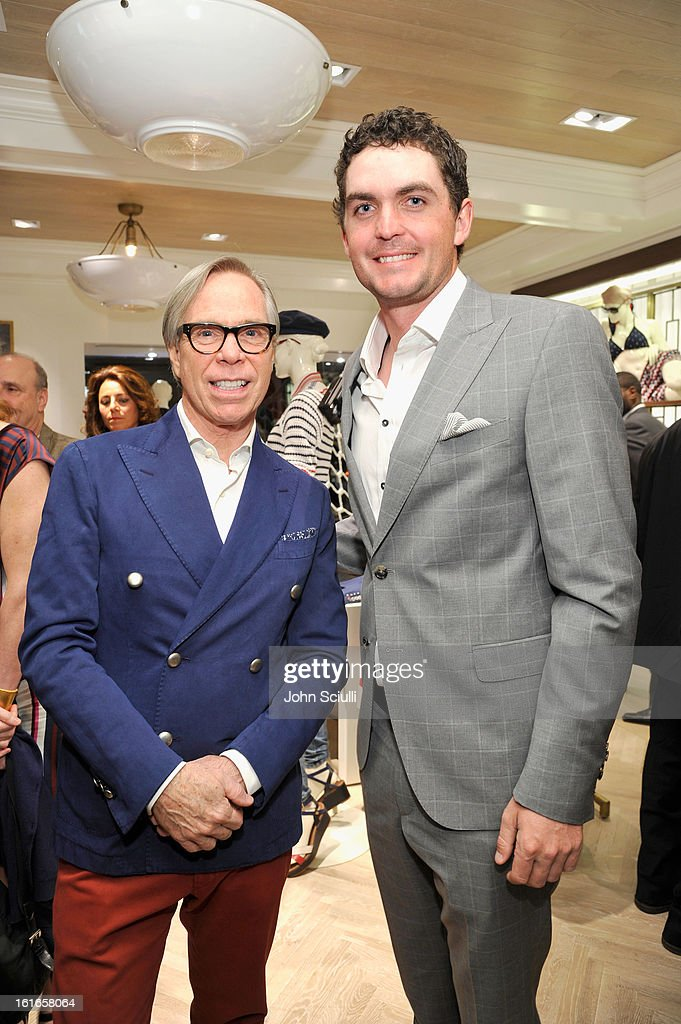 Fashion Designer Tommy Hilfiger and PGA Tour Player Keegan Bradley attend Tommy Hilfiger New West Coast Flagship Opening on Robertson Boulevard on February 13, 2013 in West Hollywood, California.