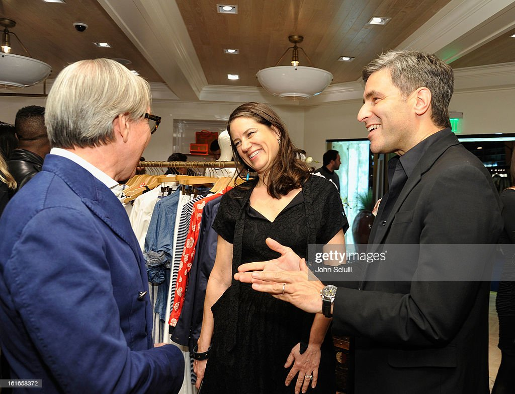 Fashion Designer Tommy Hilfiger, Katherine Ross and Wallis Annenberg Director Michael Govan attend Tommy Hilfiger New West Coast Flagship Opening on Robertson Boulevard on February 13, 2013 in West Hollywood, California.