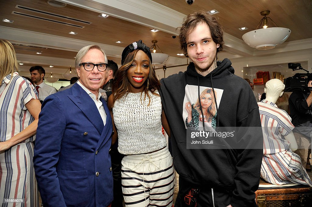 Fashion designer Tommy Hilfiger, singer Estelle and Richard Hilfiger attend Tommy Hilfiger New West Coast Flagship Opening on Robertson Boulevard on February 13, 2013 in West Hollywood, California.